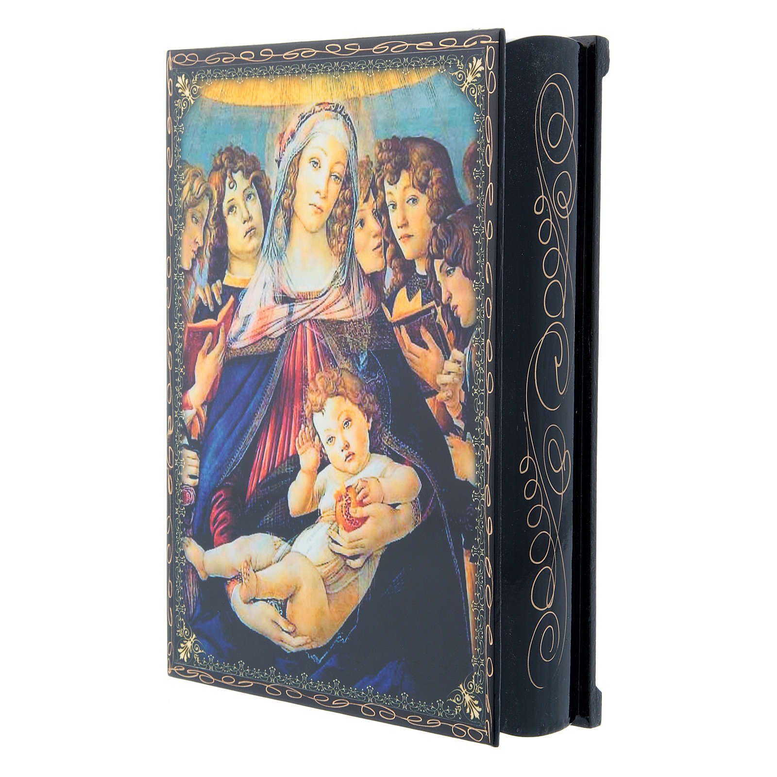 Russian papier-mâché and lacquer painted box Madonna of the Pomegranate 22x16 cm 4