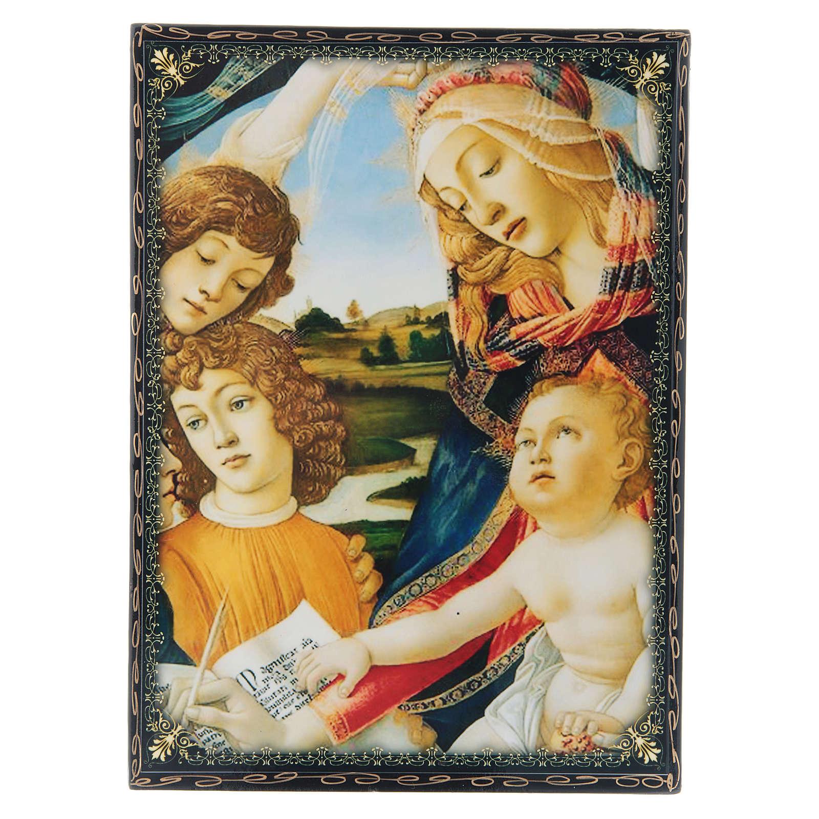 Scatoletta lacca papier machè La Madonna del Magnificant 22X16 cm 4