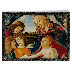 Scatoletta lacca papier machè La Madonna del Magnificant 22X16 cm s1