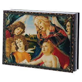 Scatoletta lacca papier machè La Madonna del Magnificant 22X16 cm s2