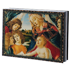 Papier-machè and lacquer box Our Lady of the Magnificant 22X16 cm s2