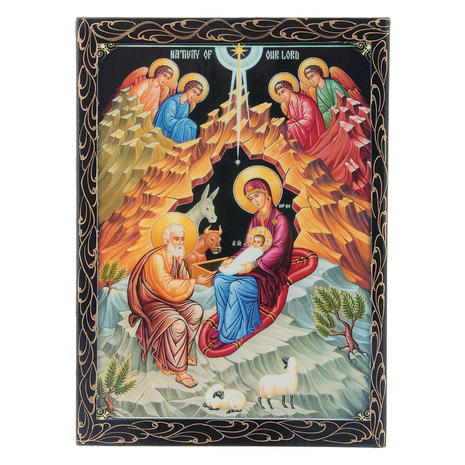 Russian papier-machè box with decorations The Birth of Jesus Christ 22X16 cm 4