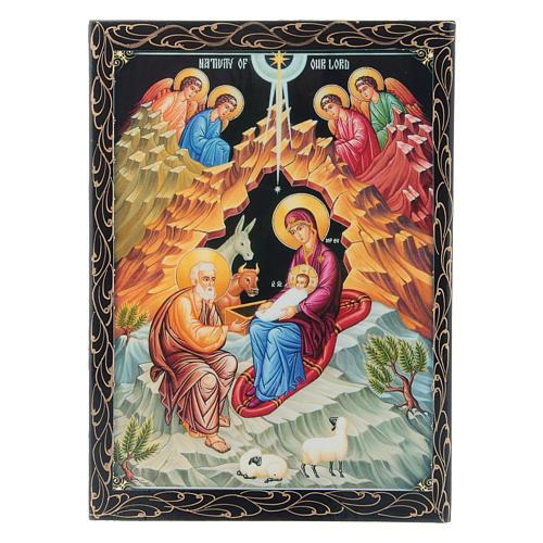 Scatola russa decorata cartapesta La Nascita di Gesù Cristo 22X16 cm 1
