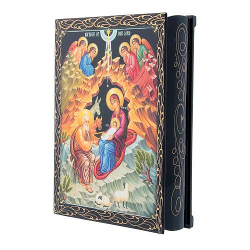 Scatola russa decorata cartapesta La Nascita di Gesù Cristo 22X16 cm 2