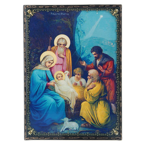Russian lacquer and papier-machè box with decorations The Birth of Jesus Christ 22X16 cm 1