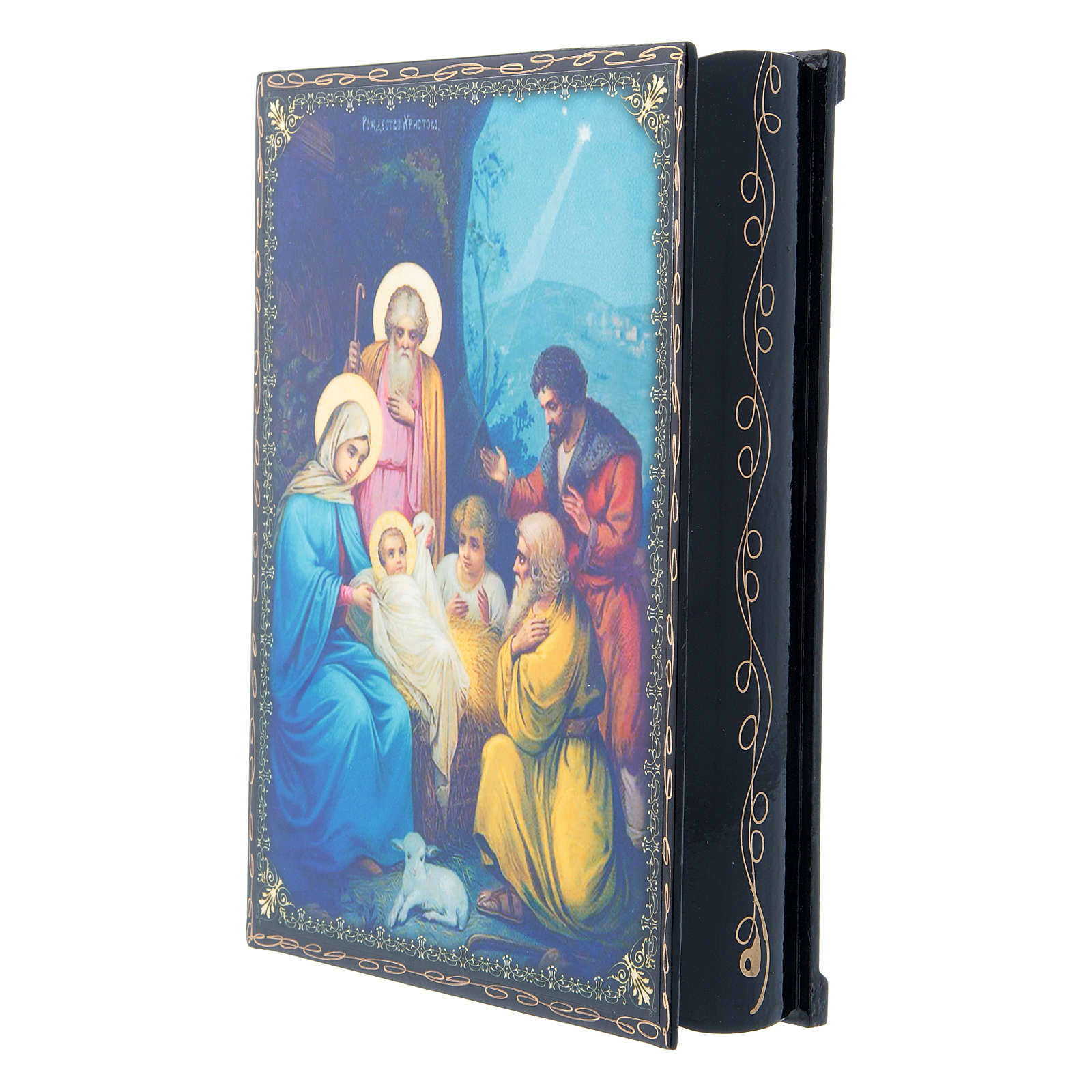 Russian lacquer and papier-machè box with decorations The Birth of Jesus Christ 22X16 cm 4