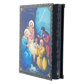 Russian lacquer and papier-machè box with decorations The Birth of Jesus Christ 22X16 cm s2
