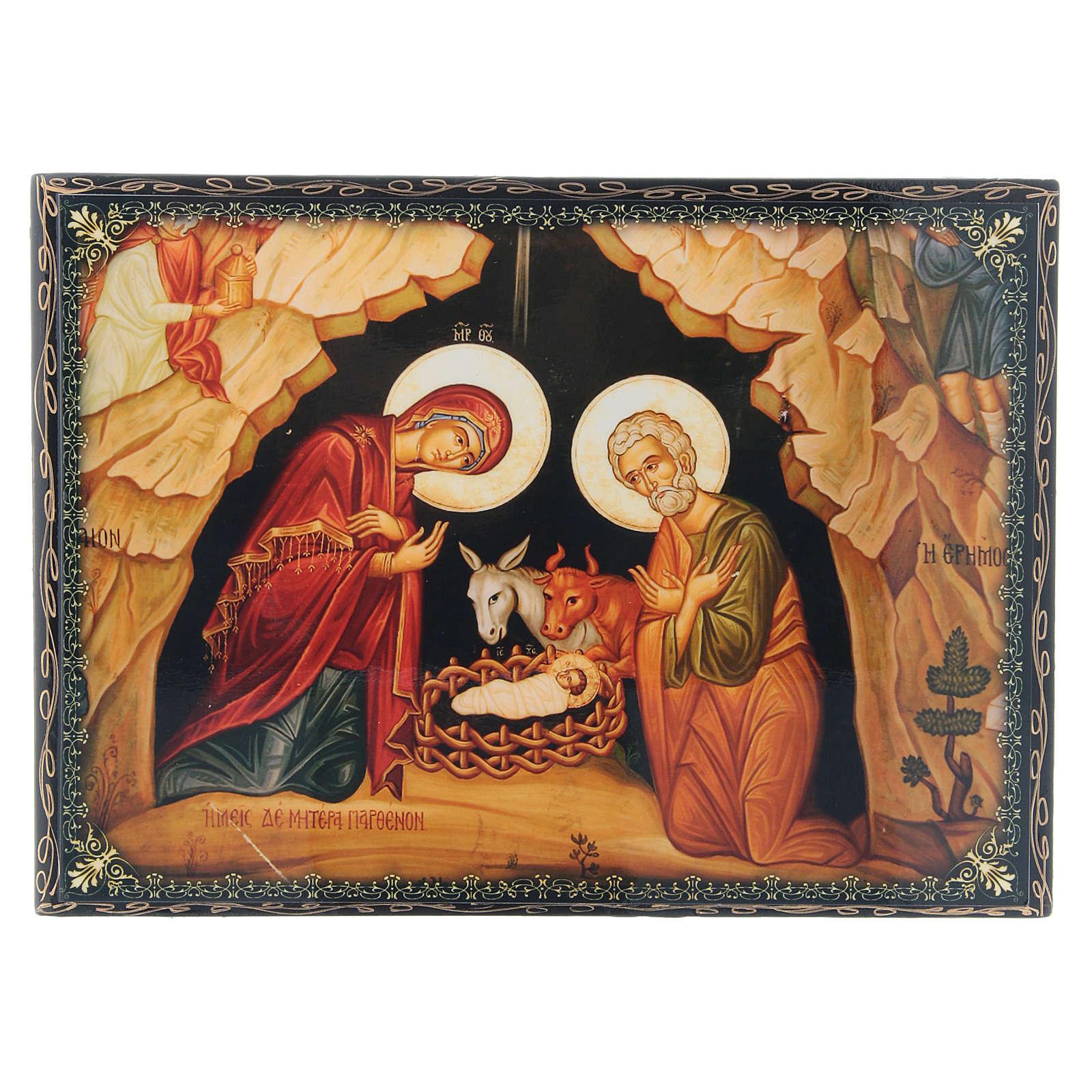 Scatoletta russa papier machè decorata La Nascita di Gesù Bambino 22X16 cm 4
