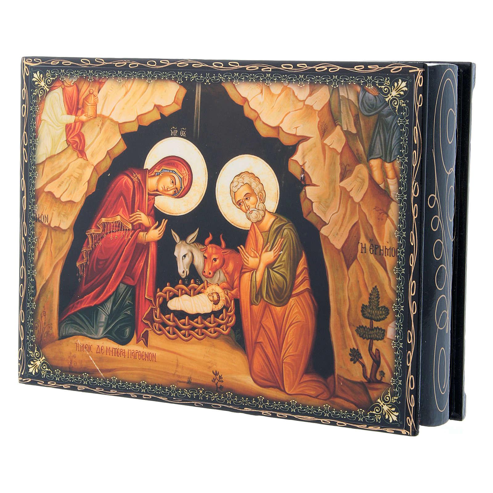 Caixa russa papel-machê decorada Nascimento de Jesus Cristo 22x16 cm 4