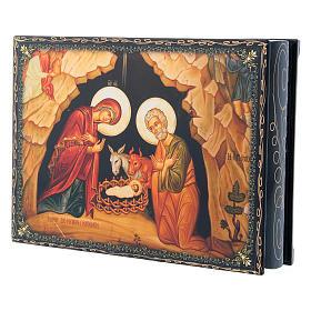 Caixa russa papel-machê decorada Nascimento de Jesus Cristo 22x16 cm s2