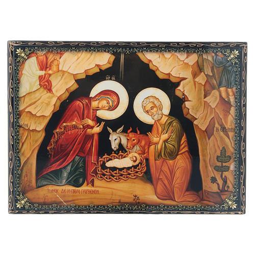 Caixa russa papel-machê decorada Nascimento de Jesus Cristo 22x16 cm 1