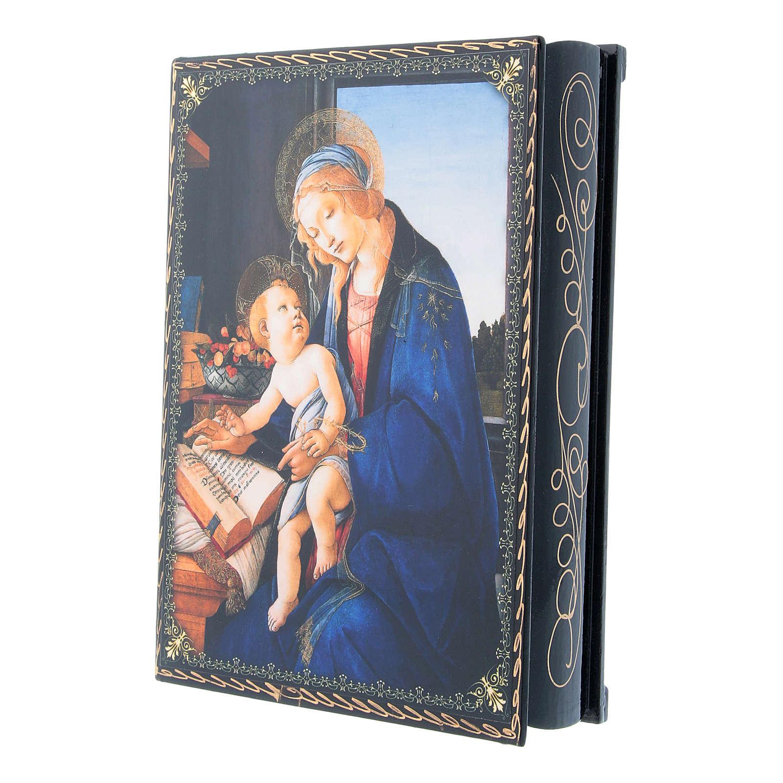 Scatola decorata russa decoupage La Madonna del Libro 22X16 cm 4