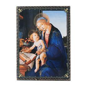 Scatola decorata russa decoupage La Madonna del Libro 22X16 cm s1