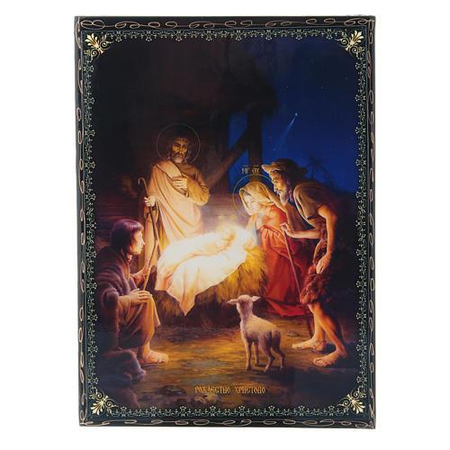 Scatoletta cartapesta decorata russa La Nascita di Gesù Cristo 22X16 cm 1