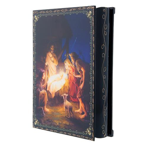 Scatoletta cartapesta decorata russa La Nascita di Gesù Cristo 22X16 cm 2