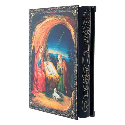 Scatola cartapesta decorata decoupage La Nascita di Gesù Cristo 22X16 cm 2