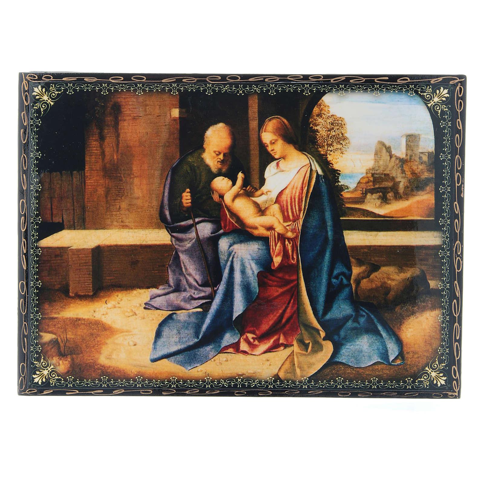 Russian lacquer and papier machè box The Birth of Jesus Christ 22X16 cm 4