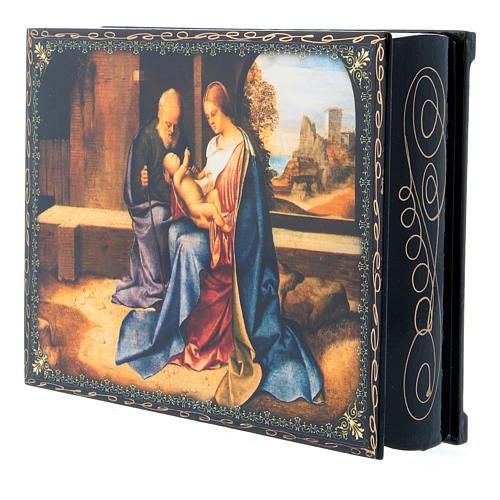 Lacca russa decorata papier machè La Nascita di Gesù Cristo 22X16 cm 2