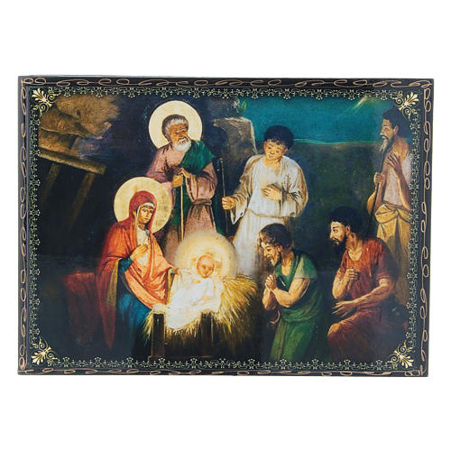 Scatoletta decoupage cartapesta russa La Nascita di Gesù Cristo 22X16 cm 1