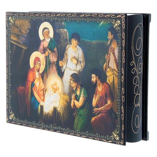 Scatoletta decoupage cartapesta russa La Nascita di Gesù Cristo 22X16 cm 2