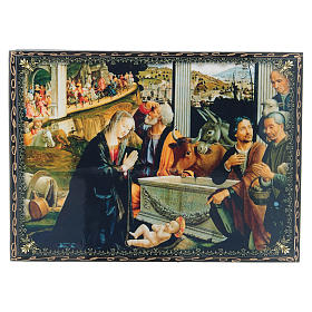 Russian papier-machè and lacquer box decoupage The Adoration of the Shepherds 22X16 cm s1