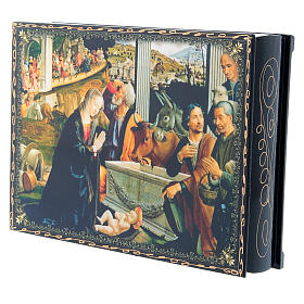 Russian papier-machè and lacquer box decoupage The Adoration of the Shepherds 22X16 cm s2