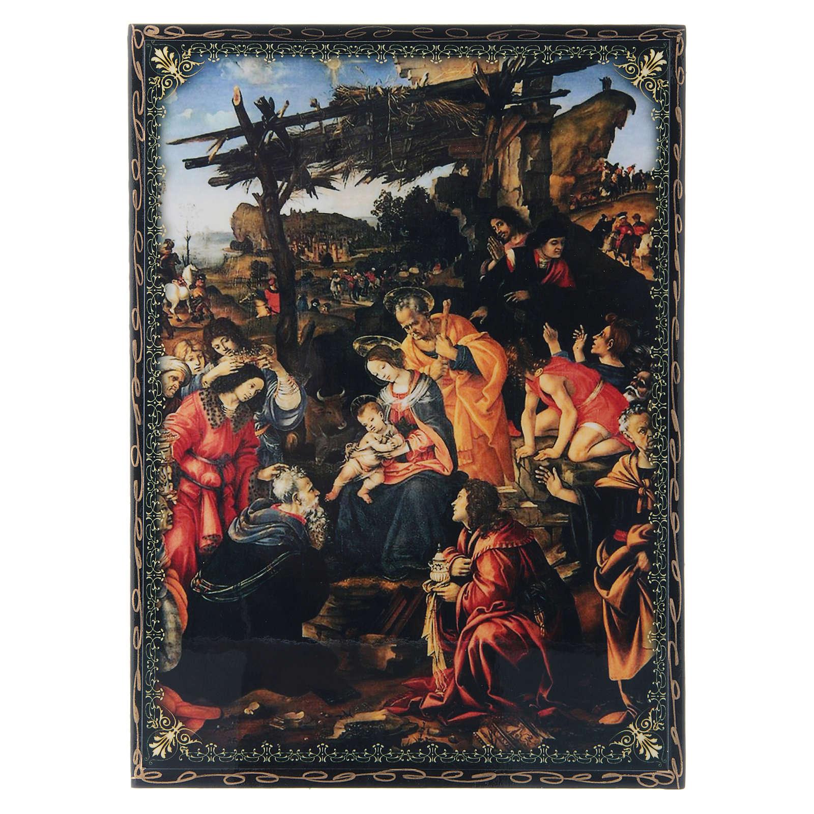 Scatola cartapesta dipinta L'Adorazione dei Magi 22X16 cm 4