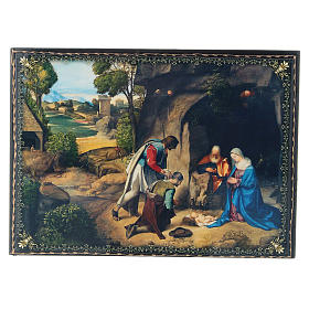 Russian decorated papier-machè box The Adoration of the Shepherds decoupage 22X16 cm s1