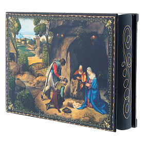 Russian decorated papier-machè box The Adoration of the Shepherds decoupage 22X16 cm s2