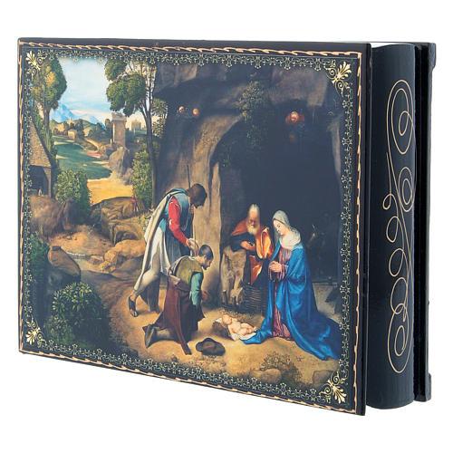 Lacca cartapesta decorata decoupage L'Adorazione dei pastori 22X16 cm 2