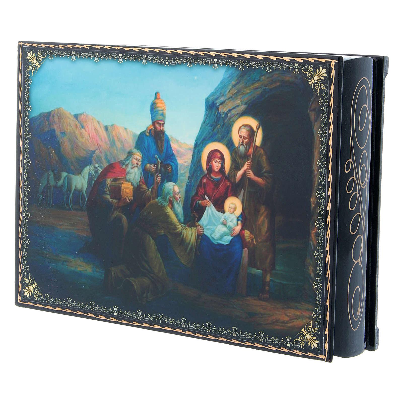 Scatoletta cartapesta russa decoupage La Nascita di Gesù Cristo e Adorazione dei Magi 22X16 cm 4