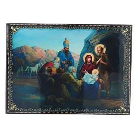 Scatoletta cartapesta russa decoupage La Nascita di Gesù Cristo e Adorazione dei Magi 22X16 cm s1