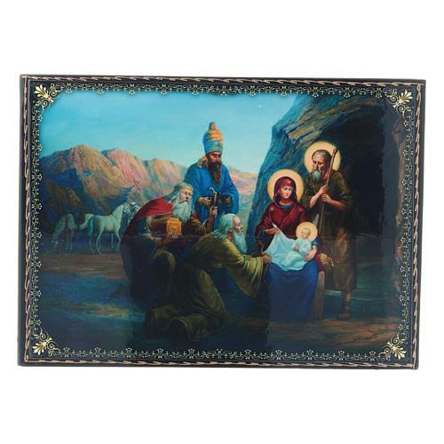 Scatoletta cartapesta russa decoupage La Nascita di Gesù Cristo e Adorazione dei Magi 22X16 cm 1