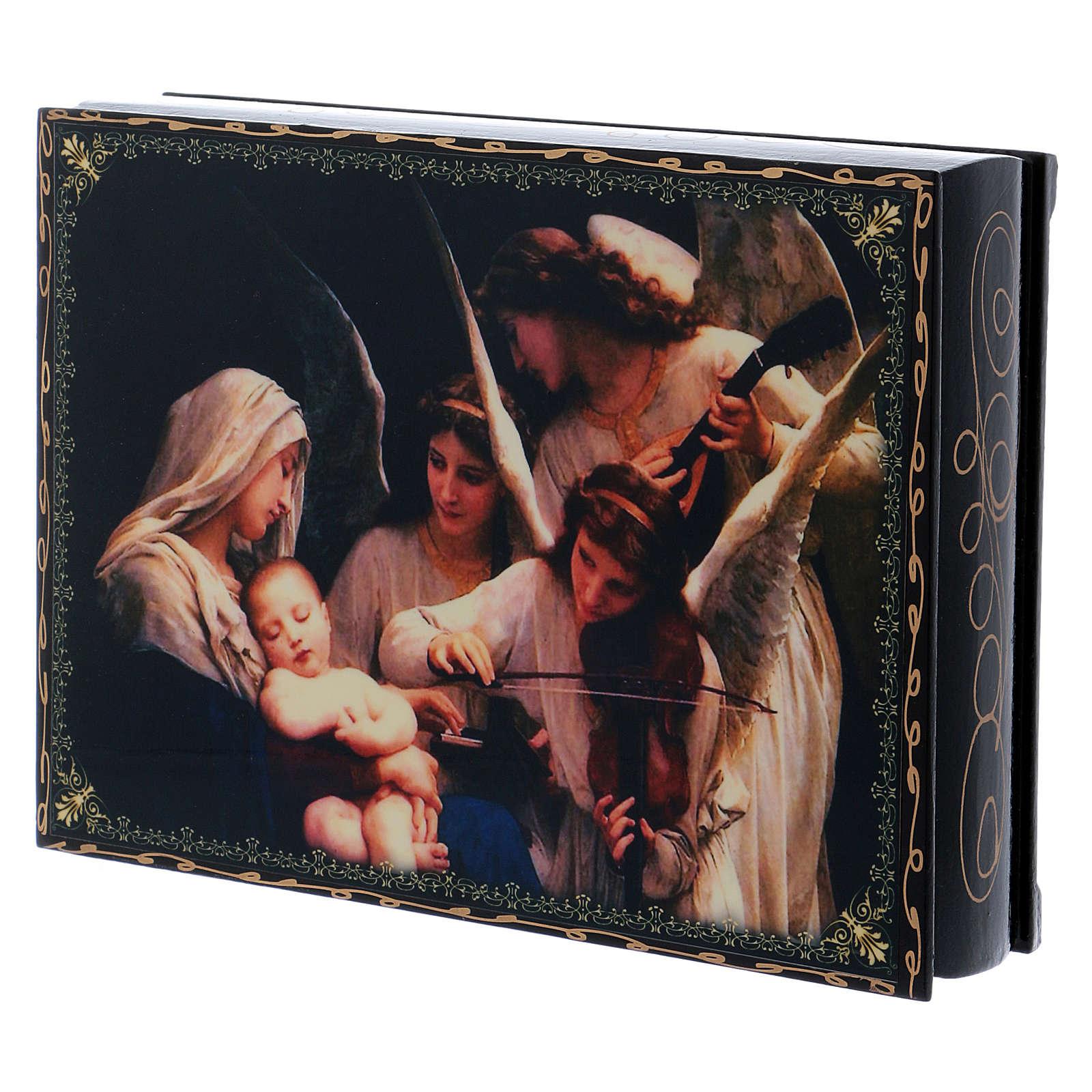 Lackdose aus Papiermaché Verzierung in Découpage-Technik Gesang der Engel 22x16 cm 4