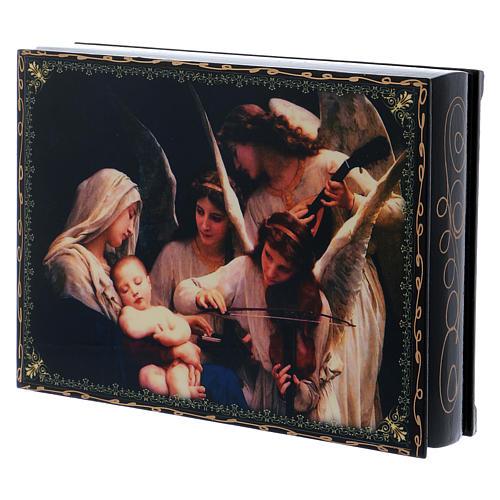 Lackdose aus Papiermaché Verzierung in Découpage-Technik Gesang der Engel 22x16 cm 2