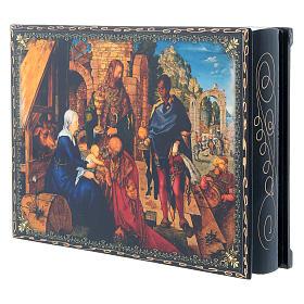 Scatola russa cartapesta decorata La Nascita di Gesù Cristo 22X16 cm s2