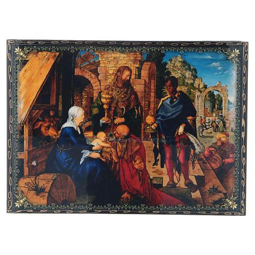 Scatola russa cartapesta decorata La Nascita di Gesù Cristo 22X16 cm 1
