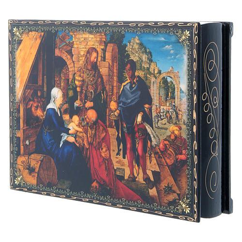 Scatola russa cartapesta decorata La Nascita di Gesù Cristo 22X16 cm 2