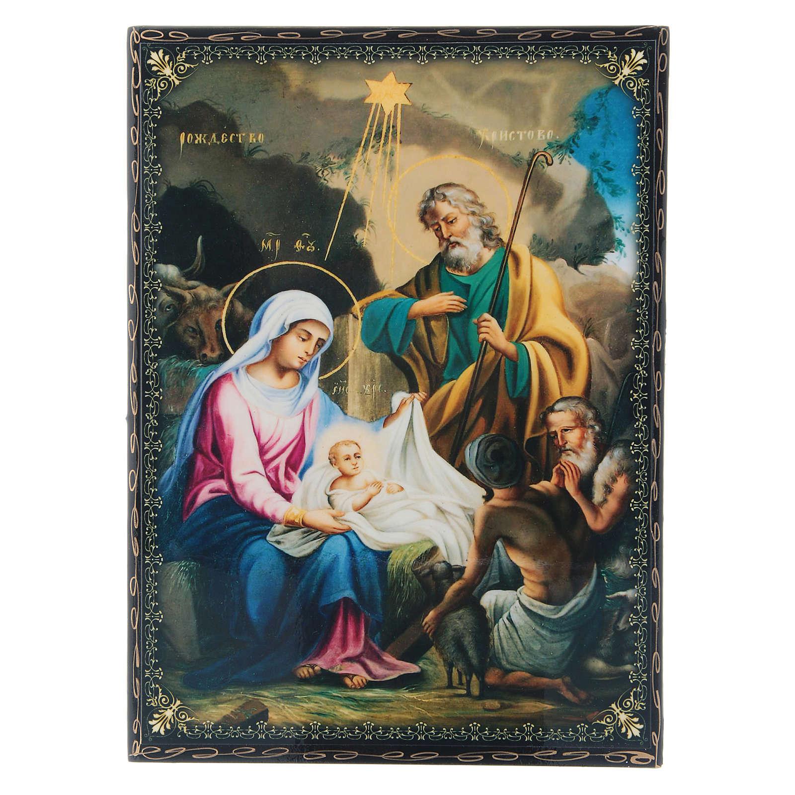 Lacca russa decorata papier machè La Nascita di Gesù Cristo 22X16 cm 4