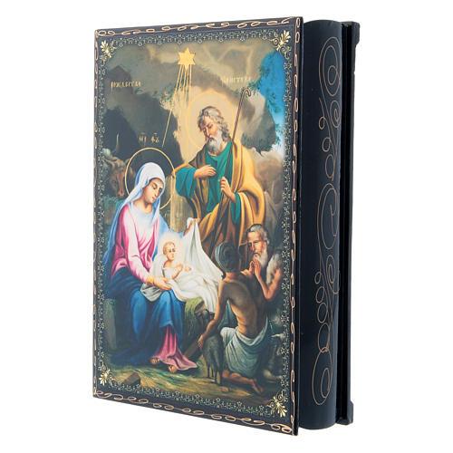 Russian papier-machè box The Birth of Jesus Christ, decoupage 22X16 cm 2