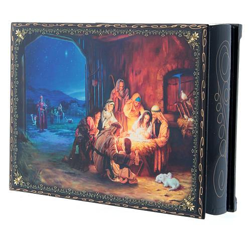 Scatola decoupage russa cartapesta La Nascita di Gesù Cristo e Adorazione dei Magi 22X16 cm 2