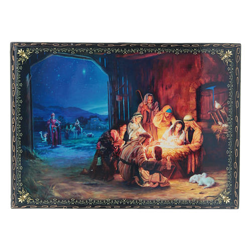 Russian papier-machè box The Birth of Jesus Christ and the Adoration of the Three Wise Men, decoupage 22X16 cm 1