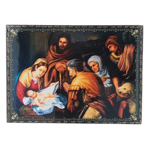 Scatola russa decoupage cartapesta La Nascita di Cristo 22X16 cm 1