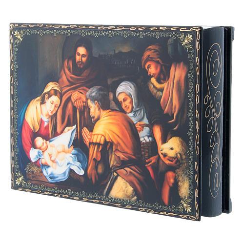 Scatola russa decoupage cartapesta La Nascita di Cristo 22X16 cm 2