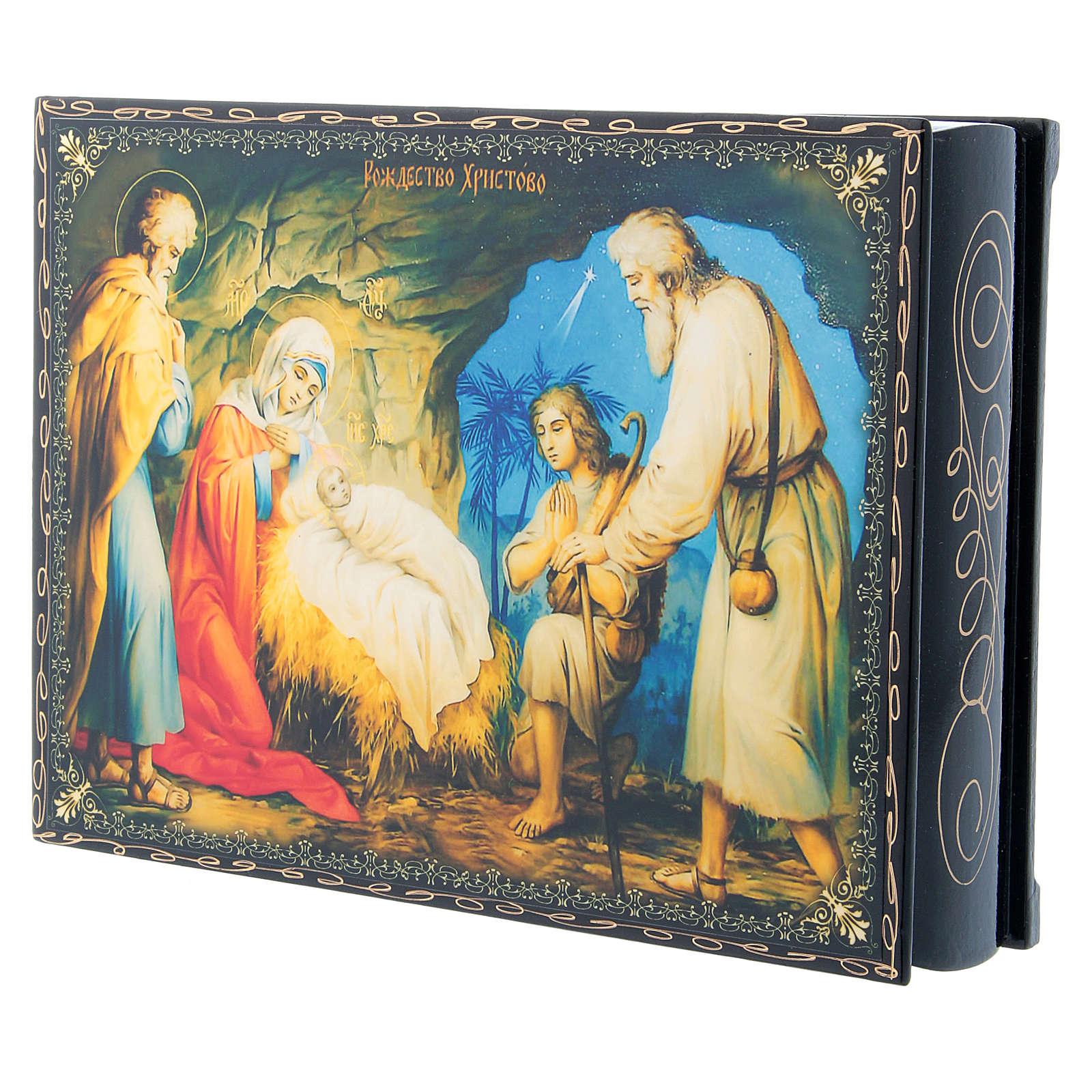 Scatola decoupage cartapesta russa La Nascita di Gesù Cristo 22X16 cm 4