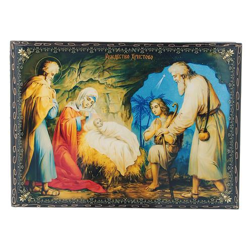 Scatola decoupage cartapesta russa La Nascita di Gesù Cristo 22X16 cm 1