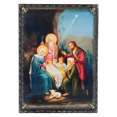 Scatoletta cartapesta russa La Nascita di Gesù Cristo 22X16 cm 1