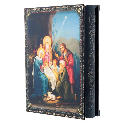 Scatoletta cartapesta russa La Nascita di Gesù Cristo 22X16 cm 2