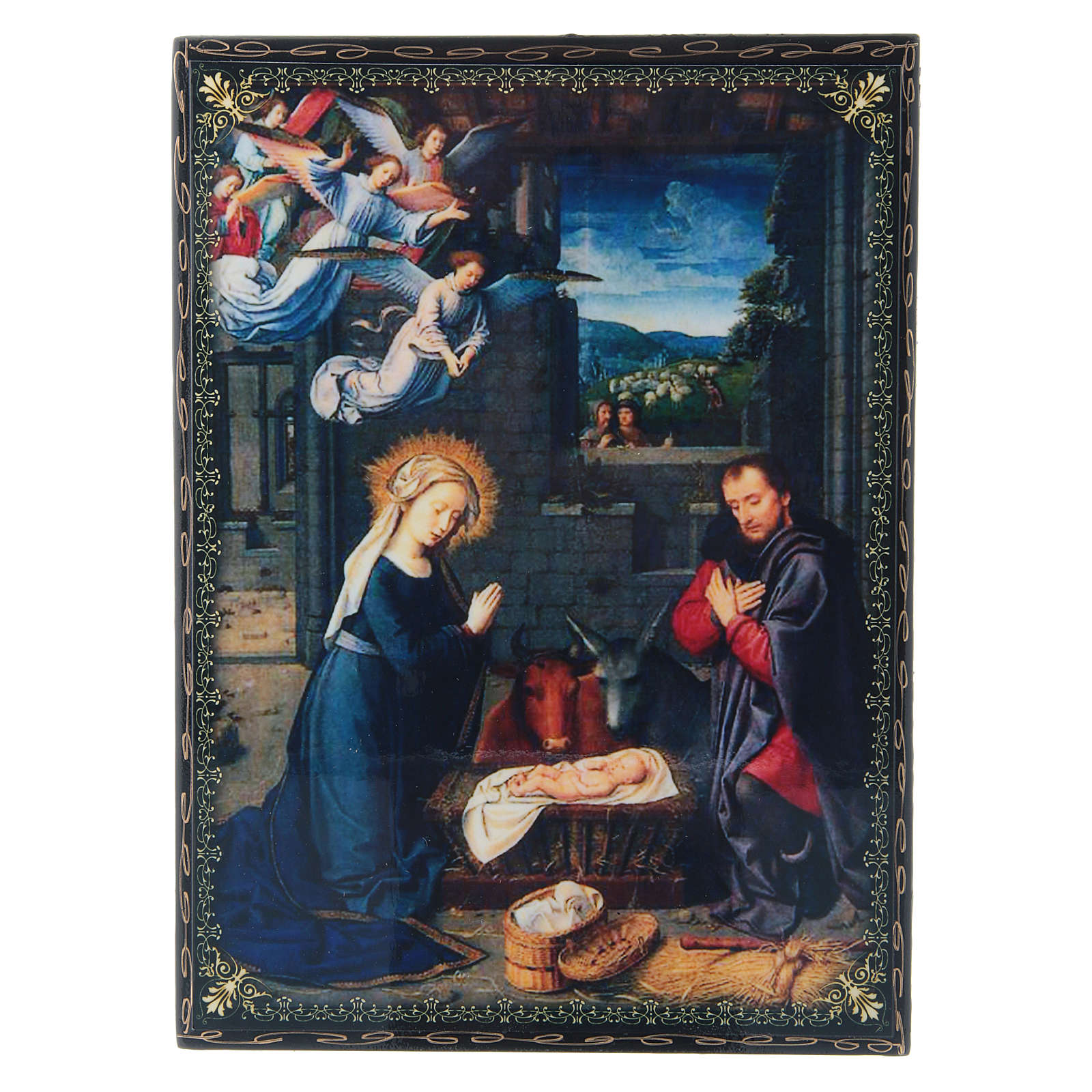 Lacca cartapesta decorata La Nascita di Gesù Cristo  22X16 cm 4