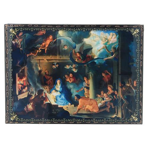 Scatola decoupage russa cartapesta La Nascita di Gesù Cristo e Adorazione dei Magi 22X16 cm 1